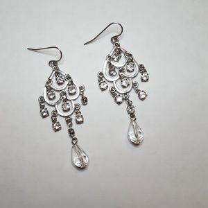Jewelry - Silver Crystal Chandelier Earrings